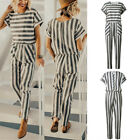 UK Womens Striped Pocket Open Back Holiday Playsuit Trousers Long Beach Jumpsuit