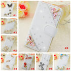 Bling Crystal Diamonds Pearls PU leather flip slots stand wallet case cover #16