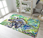 Watercolor Zebra Breadth Rugs Living Room Floor Rug Carpet Tropical Leaves Mat