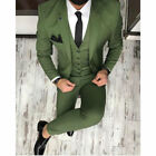 Army Green 3 Pieces Slim Fit Groom Tuxedos Best Men Formal Business Wedding Suit