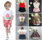 2pcs toddler baby girls summer clothes Tee short pants kids party daily outfits