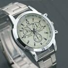 Stainless Steel Date Mens Watches Analog Quartz Army Silver Black Wrist Watch