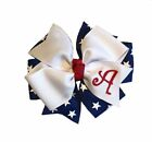 Patriotic Monogram Hair Bow