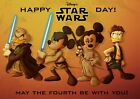 Star Wars Disney Characters Mickey Mouse Poster Art Print - A0 A1 A2 A3 A4 Sizes