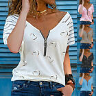 UK Womens Chiffon Lace Casual T-Shirt Ladies Summer Loose Tops Blouse Size 6-22