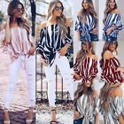 Womens Bardot Off Shoulder Tops Ladies Summer Casual Loose T Shirt Blouse 6 - 16