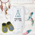 Personalized Name Boho Feather Baby Girl Onesies & Shoes Baby Shower Gift Set