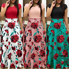 Plus Size Women's Floral Long Maxi Dress Split Cocktail Part