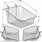 Case of 6   Grid Gridwall Baskets 12 x 12 x 8   BLACK WHITE or CHROME