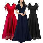 Women Chiffon Lace Dress Long Bridesmaid Evening Formal Party Maxi Ball Gown