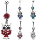Delightful OWL Drop Body Belly Button Ring Crystal Dangly Navel Bar (Dws19)
