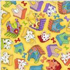 Loralie Happy Dog Houses Fabric Yellow Toss 100% Quilting Cotton BTHY BTY