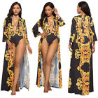 Bohemian Beach Jumpsuit Women Summer Sexy Print Swimeuit Cardigan Coat 2 Pcs Set