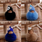 Внешний вид - 2018 Sleeping Baby Key chains Doll Rabbit Fur Fluffy PomPom Bag Decor Keyrings J