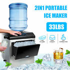 Ice Maker Commercial  Compact Countertop Ice Cube Maker Up to 26lbs/33lbs/100lbs photo
