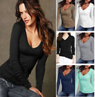 Fashion Women's Well-matching Warm Blouses Top Long Sleeve Slimmy Deep V-Neck
