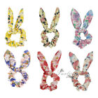 1X Floral Chiffon Bunny Ear Scrunchie Cute Ponytail Holder for Girl Bow Hair Tie