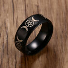 Men Triple Goddess Pentacle Ring Stainless Steel Black Crescent Moon  Pentagram <br/> stainless steel men ring biker jewelry us standard size