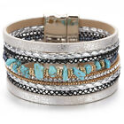 Fashion Women Leather Ceramic Rhinestone Crystal Beads Magnetic Chram Bracelet