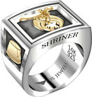 Men's Two-Tone Shriner 0.925 Sterling Silver and 14k Yellow Gold Masonic Ring
