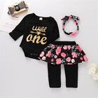 3PCS Baby Girl Romper+Floral Pant Skirt+Headband Outfit 1st
