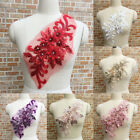 Flower Sequin Rhinestone Motif Trim Applique Wedding DIY Sewing Embroidery Eager