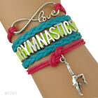 Gymnastics Leather and Suede Charm Bracelet for Girls