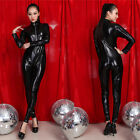 Women Sexy PVC Leather Clubwear Gothic Catsuit Costume Jumpsuit Wetlook Zipper