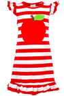 Kids Fashion Girls Back to School Apple Dress Picture 100th Day 2t 3t 4t 5 6 7 8