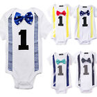 Baby Boys Girls First 1st Birthday Outfits Party Romper Bow