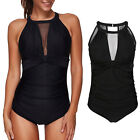 Women One Piece High Neck V-Neckline Mesh Ruched Monokini Swimwear Bathing Suit