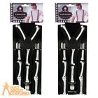 Adult Skeleton Braces Black and White Bones Halloween Mens Fancy Dress Accessory
