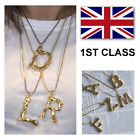Alphabet Letter Initial Pendant Necklace Brass Gold Plated A To Z