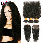 Kinky Curly 3 Bundles With 4*4 Lace Closure Brazilian Human Hair Extensions Weft
