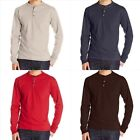 Men's Long Sleeve Beefy Henley T-Shirt 100% Cotton Crew Neck