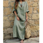 Plus Size Women Vintage Cotton Linen Dresses Loose Kaftan Casual Maxi Long Dress