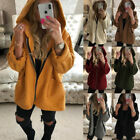UK Womens Winter Fluffy Fleece Jacket Coat Cardigans Hooded Zip UP Pocket Jumper
