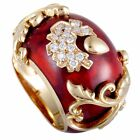 Nouvelle Bague 18K Rose Gold Diamond Pave and Sienna Enamel Flower Bombe Ring