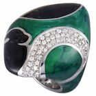 Nouvelle Bague 18K White Gold and Sterling Silver Diamond Pave, Black and Gre...
