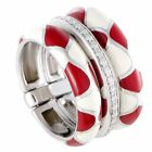 Nouvelle Bague 18K White Gold and Sterling Silver Diamond Pave, White and Red...