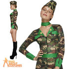 Sexy Army Girl Costume Combat Chick Fancy Dress Womens Ladies Soldier Outfit
