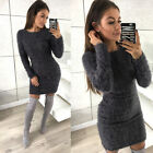 UK Womens Winter Long Sleeve Fluffy Sweater Top Ladies Bodycon Mini Jumper Dress