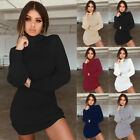 Womens Knitted Bodycon High Neck Jumper Sweater Ladies Knitwear Tops Mini Dress