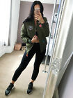 Quilted Bomber Patch jacket Spatial Ladies Appliqué Green & Navy Coat Womens ❤