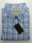 NWT Gold Label Roundtree Yorke Blue Brown Check Men Shirt Big & Tall Many Sizes