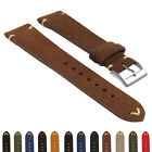StrapsCo Suede Vintage Hand-Stitched Leather Watch Band - Quick Release Strap image