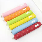 Cute Candy Color Pencil Case Kawaii Dot Canvas Pen Bag School Stationery Pouch