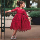 Girls Lace Kid Pleated Flower Dress Christmas Princess Party Ball Gown Dresses