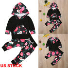 US Newborn Toddler Baby Girl Winter Outfits Floral Clothes Hoodie Tops+Pants Set