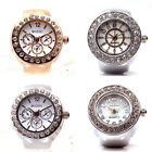 Rhinstone Quartz Analog Ring Watch Mens Womens Creative Alloy Finger Ring Watch image